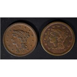 1854 VF/XF & 1856 VF U.S. LARGE CENTS