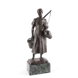 Hans Muller Water Carrier Bronze Sculpture