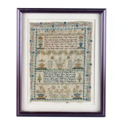 Early American Needlework Sampler circa 1818