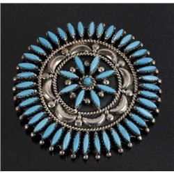 Signed Nez Perce Silver & Turquoise Petite Brooch