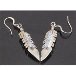 Navajo Silver & Inlaid Opal Feather Motif Earrings