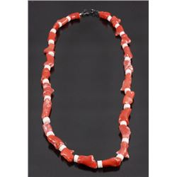 Chinese Red Branch Coral & White Coral Necklace