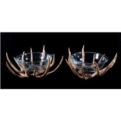 Rustic Pair Of Antler & Glass Bowls