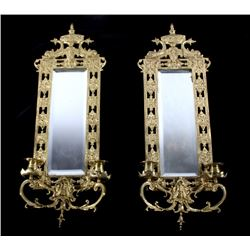 Early Solid Brass Beveled Mirror Sconces