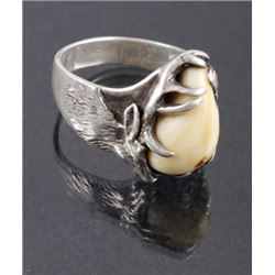 Elk Ivory & Silver Cast Elk Pictorial Ring
