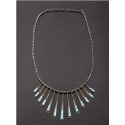 Navajo Silver Multi-Drop Turquoise Charm Necklace