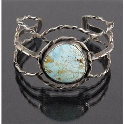 Signed Navajo Turquoise & Twisted Sterling Cuff