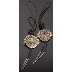 Zuni Sterling Silver Sunface Pictorial Bolo Ties