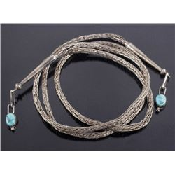Fancy Braided Silver & Turquoise Bolo Chain
