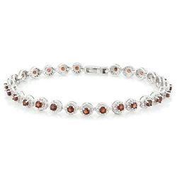 *** FEATURE ITEM **** BRACELET -  4 2/3 CARAT (27 PCS) GARNETS & (10 PCS) DIAMONDS IN 925 STERLING S
