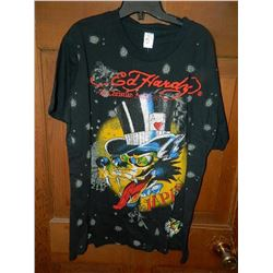 "T-SHIRT - ED HARDY - WITH COLORED JEMS ATTACHED - ""ED HARDY BY CHRISTIAN AUDIGER"" - WOLF WITH LONG T"
