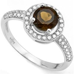 **** FEATURE ITEM **** RING - 3/4 CARAT SMOKEY TOPAZ & 42 CREATED WHITE SAPPHIRE IN 925 STERLING SIL