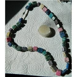 """NECKLACE - ASSORTED AGATE BLOCK NECKLACE - 10 X 10 X 12mm & 15 x 15 x 6mm BLOCKS - 24"""" LONG WITH SCR"""