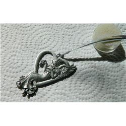 """ORNAMENT - """"ANGEL OF THE HEART"""" MARKED ON BACK - CRYSTAL IN ANGELS HAND - ~3' TALL - 25.6gm"""