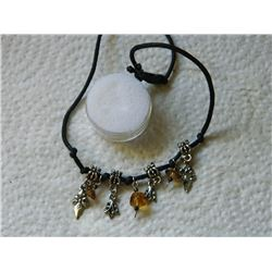NECKLACE - ROPE NECKLACE WITH CHARMS & AMBER BEADS