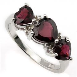 **** FEATURE ITEM **** RING - 3 CTW HEART FACETED GARNETS & DIAMONDS IN 925 STERLING SILVER SETTING