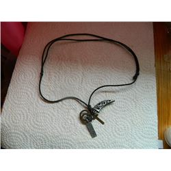 ROPE NECKLACE WITH 5 PENDANTS - HORN, CROSS, TAG & 2 RINGS