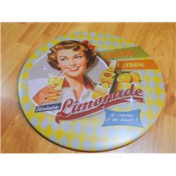 "METAL SIGN - ROUND - 12"" - LIMONADE"