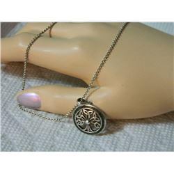 "**** FEATURE ESTATE ITEM **** LIVIOR SILVER CHAIN (18"" 925 ITALY) - WITH CELTIC TREE OF LIFE PENDANT"