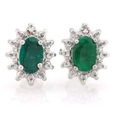EARRINGS -  1 1/3  CTW OVAL FACETED ENHANCED GENUINE RICH GREEN EMERALD & 2 ROUND FACETED DIAMONDS I