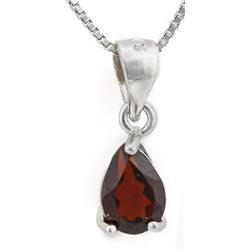 "NECKLACE -  3/4 CT PEAR FACETED PERSIAN RED GARNET IN 925 STERLING SILVER SETTING - INCLUDES 20"" 925"