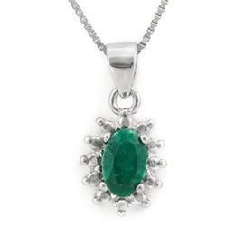 NECKLACE - 2/3 CT OVAL FACETED ENHANCED GENUINE RICH GREEN EMERALD & ROUND FACETED DIAMOND IN 925 ST