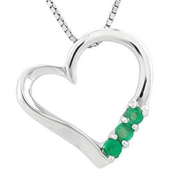 **** FEATURE ITEM **** NECKLACE -1/3 CARAT EMERALD IN 925 STERLING SILVER HEART SETTING - INCLUDES 2