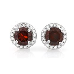 EARRINGS - 2 CT GARNETS &  GENUINE DIAMOND IN 925 STERLING SILVER - RETAIL ESTIMATE $450