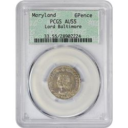 Choice AU Circa 1659 Maryland Sixpence Maryland Colony. Circa 1659 Cecil Calvert, Lord Baltimore Six