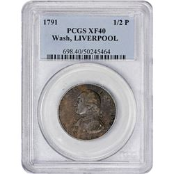 Scarce 1791 Washington-Liverpool Halfpenny 1791 Washington President-Liverpool Halfpenny Mule. Baker