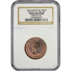 Gem Mint State Henry Clay Token 1844 Henry Clay Campaign Token. DeWitt-HC-1844-28. Copper. MS-66 RB