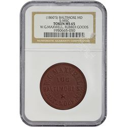 (1860s) W.G. Maxwell Rubber Token Maryland. Baltimore. Undated (1860s). W.G. Maxwell Rubber Goods. H