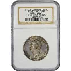 Mint State Henry Clay Silver Medal Undated (1860) Henry Clay Memorial Medal. Silver. MS-63 NGC.