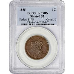 Choice BN Proof 1855 Cent Italic 5s 1855 Cent Italic or Slanted 55. Newcomb-10. Rarity-5 as Proof. P