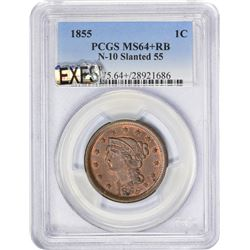 Choice+ RB 1855 Large Cent 1855 Cent Slanted or Italic 5s. N-10. Rarity-1. MS-64+ RB PCGS.
