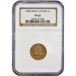 Proof 1858 Flying Eagle Cent 1858 Cent Small Letters. Proof-62 NGC.