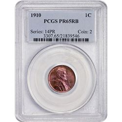 Gem RB Proof 1910 Lincoln Cent 1910 Cent Proof-65 RB PCGS.