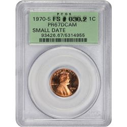 Superb Gem Proof 1970-S Small Date Cent 1970-S Cent Small Date. FS-030.2. Proof-67 DCAM. OGH.