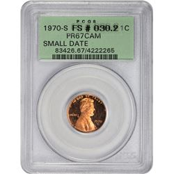Lovely Gem Proof 1970-S Small Date Cent 1970-S Cent Small Date. FS-030.2. Proof-67 CAM. OGH.