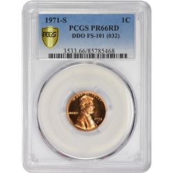 Gem RD Proof D.D.O. 1971-S Cent 1971-S Cent Doubled Die Obverse. FS-101 (FS-032). Proof-66 RD PCGS.