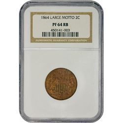 Choice RB Proof 1864 Two-Cents Large Motto 1864 Two-Cents Large Motto. Proof-64 RB NGC.