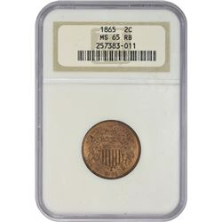 Mint State Gem RB 1865 Two-Cents Plain 5 1865 Two-Cents Plain 5. MS-65 RB NGC.