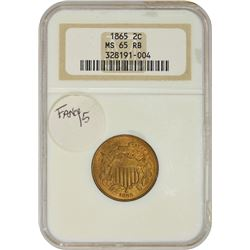 Gem RB Uncirculated 1865 Two-Cents Fancy 5 1865 Two-Cents Fancy 5. MS-65 RB NGC.