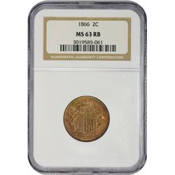 Lustrous Mint State 1866 Two-Cent Piece 1866 Two-Cents MS-63 RB NGC.