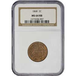 Choice RB Mint State 1868 Two-Cents 1868 Two-Cents MS-64 RB NGC.