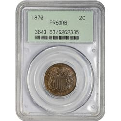 Choice RB Proof 1870 Two-Cent Piece 1870 Two-Cents Proof-63 RB PCGS.