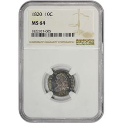 Colorful Choice Mint State 1820 Dime 1820 Dime Large 0. JR-8. Rarity-3. MS-64 NGC.