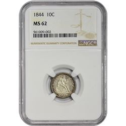 Uncirculated 1844 Orphan Annie 10¢ 1843 Dime MS-62 NGC.