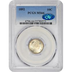 Gem Uncirculated 1892 Barber Dime 1892 Dime MS-66 PCGS. CAC.