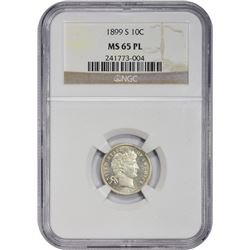 Prooflike Gem 1899-S Dime 1899-S Dime MS-65 PL NGC.